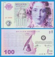 MUJAND REPUBLIC  100  ZILCHY  2.013    SC/UNC/PLANCHA    T-DL-10.948 - Specimen