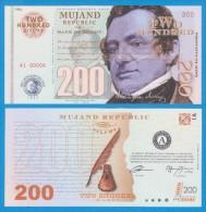 MUJAND REPUBLIC  200  ZILCHY  2.013    SC/UNC/PLANCHA    T-DL-10.949 - Specimen