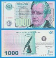 MUJAND REPUBLIC  1.000  ZILCHY  2.013    SC/UNC/PLANCHA    T-DL-10.951 - Specimen