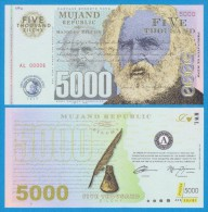MUJAND REPUBLIC  5.000  ZILCHY  2.013    SC/UNC/PLANCHA    T-DL-10.952 - Specimen
