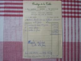 80 - AMIENS - Prestige De La Table HÉNONIN 1 Place Gambetta- Facture Du 26 Juin 1970 - Le Petit + = Recettes Au Dos ;) - Unclassified