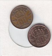 2 X 50 CENTIMES Bronze 1985 FR ET 1985 FL   Qualité++++++++++++++++++ + - 1951-1993: Baudouin I