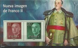 """SPAIN – ERINOFILIA – CINDERELLA - REPRODUCCION – HOJITA """"FRANCO NUEVA IMAGEN II""""-PERFORADOS C 2 SELLOS  10 -80 C REESREP - Erinofilia"""