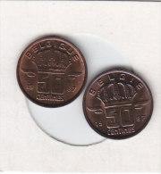 2 X 50 CENTIMES Bronze 1987 FR ET 1987 FL   Qualité++++++++++++++++++ + - 1951-1993: Baudouin I