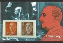"SPAIN – ERINOFILIA – CINDERELLA - REPRODUCCION – HOJITA ""FRANCO FRANCO ROJO""-PERFORADOS C 2 SELLOS  1-5 PTAS REESREPRO00 - Erinofilia"