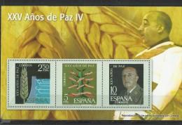 """SPAIN – ERINOFILIA – CINDERELLA - REPRODUCCION – HOJITA """"FRANCO XXV AÑOS DE PAZ IV""""-PERFORADOS C 3 SELLOS  2,50-5-10 PTA - Erinofilia"""