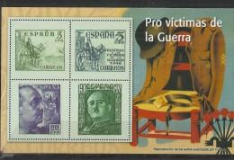 """SPAIN – ERINOFILIA – CINDERELLA - REPRODUCCION – HOJITA """"FRANCO PRO VICTIMAS DE GUERRA""""-PERFORADOS C 4  SELLOS  5(2)-20 - Erinofilia"""