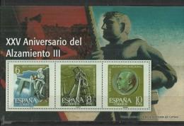"""SPAIN – ERINOFILIA – CINDERELLA - REPRODUCCION – HOJITA """"FRANCO XXV AÑOS DEL ALZAMIENTO III""""-PERFORADOS C 3 SELLOS  6-8- - Erinofilia"""