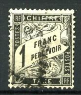 Taxe 22 - 1F noir - Oblit�r� - Tr�s beau - Cote 500 E