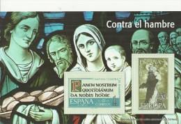 """SPAIN – ERINOFILIA – CINDERELLA - REPRODUCCION – HOJITA """"CONTRA EL HAMBRE""""-PERFORADOS C 2 SELLOS  DE 1 PTA REESREPRO0024 - Erinofilia"""