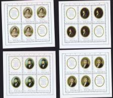 1970  Miniatures Par Peintres Polonais Série Complète De 8 Feillets 4 Timbres + 2 Vignettes **  MNH - Blocks & Sheetlets & Panes