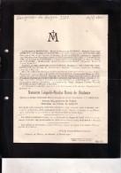 HOGNE MARCHE Léopold-Nicolas De BONHOMME époux LE GRELLE 1833-1901 Ancien Bourgmestre Doodsbrief Faire-part Mortuaire - Décès