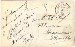 Hd903: Niet Gefrankeerd Fantasie Kaartje Verstuurd Uit:1D MOLENBEEK 1D 1913> Bruxelles Getaxeerd Met T- Stempel...zonder - Postage Due