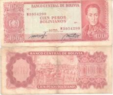 BOLIVIA BILLETE DE 100 PESOS BOLIVIANOS AÑO 1962 SIMON BOLIVAR - Bolivia