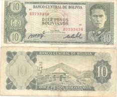 BOLIVIA BILLETE DE 10 PESOS BOLIVIANOS AÑO 1962 NOTE BUSCH - Bolivia