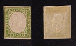 Italy Sardinia 1855 Definitives, King Viktor Emanuel II, 5c Emerald, MH AM.263 - Sardaigne