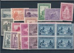 RUANDA-URUNDI 1931 ISSUE COB 92/106 + 111/13 MNH