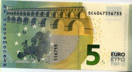 NEW NUOVA EURO NOTE BANCONOTA BILLET DA 5 EURO SC ITALIA ITALY S006.. FDS UNC DRAGHI - 5 Euro