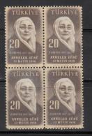 Turkey     Scott No.  1206     Mnh        Year  1956    Block Of 4 - Trinidad & Tobago (1962-...)