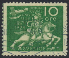 Sweden Suède Sverige: Facit 212cx, 10ö Green UPU Anniversary With WATERMARK, Fine Used (DCSV00096) - Used Stamps