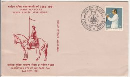 Karnataka Police Special Cover 1981, Horse, Lion With Elephant Trunk,  As Scan - Elephants