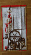 CALENDRIER TORCHON TISSU ANNEE  1980 (chatons, rouet et laine ) FISBA STOFFELS