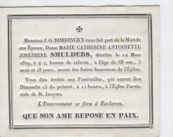 Smulders, Marie épouse De J.G. Bordinckx, Anvers 12 Mars 1829 - Obituary Notices