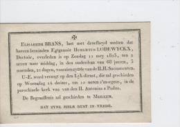 Lodewyckx Hubertus Egtg. Brans Elisabeth, Antwerpen 11-5-1823 - Obituary Notices