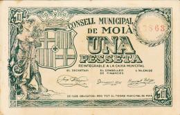 BILLETE LOCAL GUERRA CIVIL 1 PTS CONSELL MUNICIPAL DE MOIA - Espagne