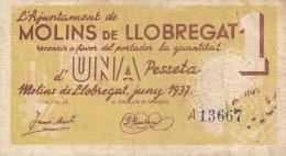 BILLETE LOCAL GUERRA CIVIL 1 PTS AYUNTAMIENTO DE MOLINS DE LLOBREGAT - Espagne