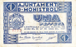 BILLETE LOCAL GUERRA CIVIL 1 PTS AYUNTAMIENTO DE MONISTROL - Espagne