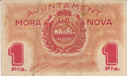 BILLETE LOCAL GUERRA CIVIL 1 PTS AYUNTAMIENTO MORA LA NOVA - Espagne
