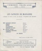 PROGRAMME -  Comédie Française  - Les Caprices De Marianne - 3 Scans - Programmes