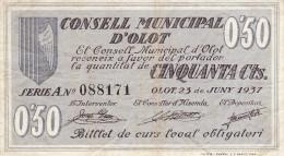 BILLETE LOCAL GUERRA CIVIL  0`50 CTS ONSEL MUNICIPAL D`OLOT - Espagne