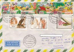 STAMPS ON COVER, NICE FRANKING, FLOWER, CARTOONS, EXPLORERS, 1992, BRAZIL - Brazil