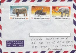 STAMPS ON COVER, NICE FRANKING, HIPPOPOTAMMUS, GUINEA CHICKEN, ELEPHANT, 1991, BURUNDI - Burundi