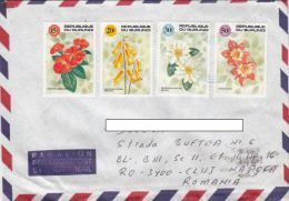 STAMPS ON COVER, NICE FRANKING, FLOWERS, 1992, BURUNDI - Burundi