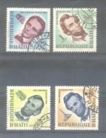 HAITI SERIE COMPLETA YVERT NR. 418 ET  AERIENNE 167-69 OBLITERES SESQUICENTENAIRE NAISSANCE ABRAHAM LINCOLN