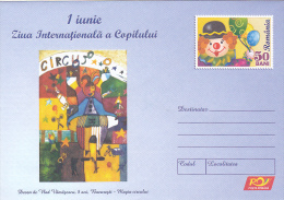 INTERNATIONAL CHILDREN` S DAY, CIRCUS, POSTAL STATIONERY, UNUSED COVER, ROMANIA, CODE 107/ 2006 - Entiers Postaux