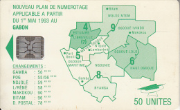 GABON - Green Map, Second Chip Issue 50 Units(matt Surface), Chip SC5, CN : C51100984, Used - Gabon