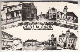DEUIL LA BARRE 95 - Multivues Dont Pub Cigarette Disque Bleu - CPSM Dentelée Noir Et Blanc PF - Val D'Oise - Deuil La Barre