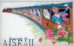 Aiseau : Souvenir D'.... - Carte Couleur + Train (écrite) - Aiseau-Presles