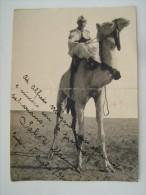 TRIPOLI     1934  MILITARE ITALIANO  SU DROMEDARIO  CON DEDICA    AOI  AFRICA  AFRIQUE   Italian Colony   WW2 - Guerra, Militari