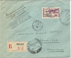 LETTRE REC PAR AVION  POUR CAMEROUN + CENSURE+TIMBRE FR LIBRE - A.E.F. (1936-1958)