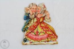 1900´s Old Illustration: Girl & Boy Dancing - Germany Victorian Embossed, Die Cut/ Scrap Paper - Infantes