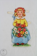 1900´s Old Illustration: Girl With Flowers - Germany Victorian Embossed, Die Cut/ Scrap Paper - Infantes