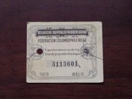 Fédération Colombophile Belge - Titres De Propriété De 1979 Eigendomsbewijs Ring Bague Duivenliefhebbersbond ! - Sports