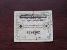 Fédération Colombophile Belge - Titres De Propriété De 1978 Eigendomsbewijs Ring Bague Duivenliefhebbersbond ! - Sports