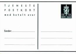 """DP 55** Postkort  1,75/175 öre -   Dienst Postkarte - Frage Und Antwortkarte -  Löwenwappen Mit Inschrift """"OFF.SAK"""" - Postwaardestukken"""