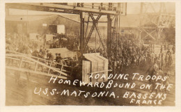 BASSENS-PRES BODEAUX-TOP CARTE PHOTO-SOLDATS AMERICAINS A BASSENS- 1918 19-USS MASTONIA-EMBARQUEMENT - Weltkrieg 1914-18